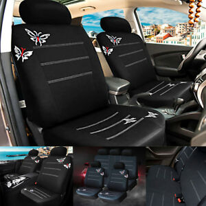 9pcs Butterfly Embroidered Cotton Soft Car Seat Covers Full Set Auto