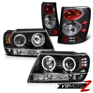 For 99 04 Jeep Grand Cherokee Wj Black Halo Projector Headlight Brake Tail Light
