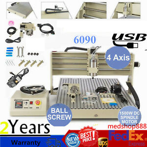 Usb 1 5kw 4axis Desktop Engraving Machine 6090 Cnc Router Engraver Metal Carving