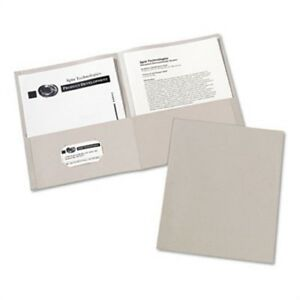 Two pocket Embossed Paper Portfolio 30 sheet Capacity Gray 25 box 3 Pack