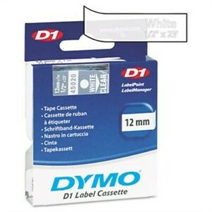 D1 Standard Tape Cartridge For Dymo Label Makers 1 2in X 23ft White On Clear X 2