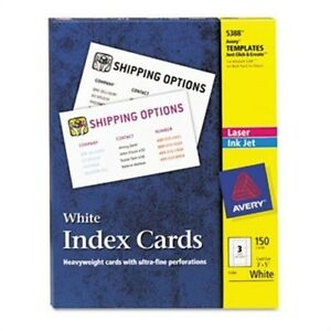 Unruled Index Cards For Laser And Inkjet Printers 3 X 5 White 150 box 2 Pack