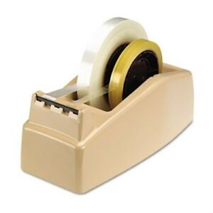 Two roll Desktop Tape Dispenser 3 Core High impact Plastic Beige 2 Pack
