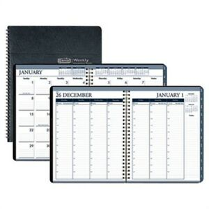 Wirebound Weekly monthly Planner 8 1 2 X 11 Black Leatherette 2014 2 Pack