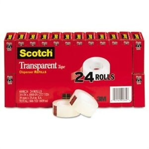 Transparent Tape 3 4 X 1000 1 Core Clear 24 pack 2 Pack