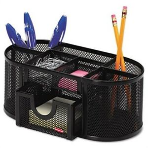 Mesh Pencil Cup Organizer Four Compartments Steel 9 1 3 X 4 1 2 X 4 Black 2
