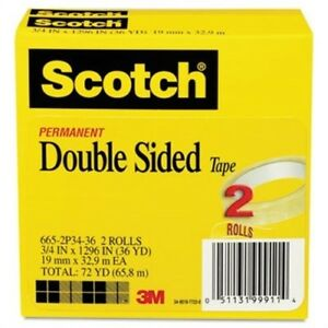 Double Sided Tape 3 4 X 1296 3 Core Transparent 2 pack 2 Pack