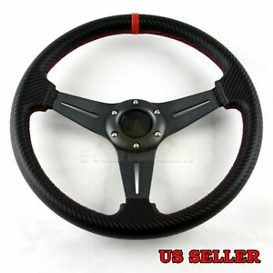 For Chevy 3 Spoke Cf Gunmetal Red Stitched 320mm 6 Bolt Track Steering Wheel