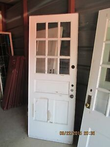 Exterior Vintage Wood Door 9 Panes Glass 2 Vertical Panels 1 Horizontal We Ship