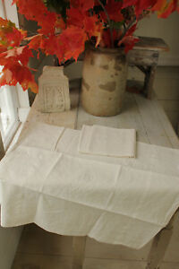 Vintage French Holiday Napkins Pair Of White Linen Ag Initials Monogram 24x28 In