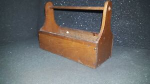 Vintage Wooden Tool Tote Work Box Old Finish 6 3 4 Long