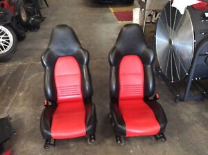 Porsche 996 Boxster Seats Crested Recaro Turbo Gt3 Two Tone Black And Red Superb