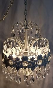Vintage Crystal Waterfall Chandelier 6 Light Swag Lamp French Country Chic