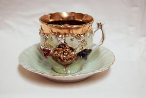 Antique German Germany Gold Gilded Luster Mustache Cup Saucer Set Tea Coffee