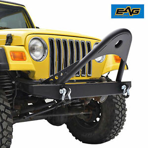 Eag Stinger Front Bumper With D Ring Textured For 87 06 Jeep Wrangler Tj Yj