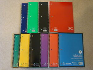 Spiral Notebook 1 Subject 70 Sheets College Ruled 10 Spiral Notebooks Lot