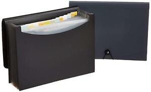 Expanding File Folder letter Size fits A4 Paper black gray 2 Pack with 13 Pocket