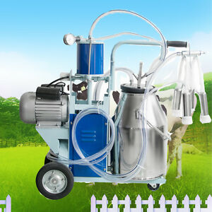 Automatic Electric Milking Machine Vacuum Piston Pump 25l Barrel Farm Milker Fda