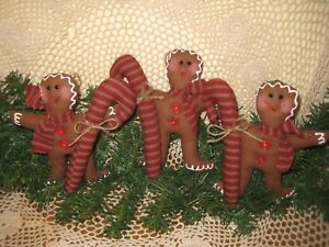 3 Handmade Fabric Prim Christmas Gingerbread Candy Canes Ornaments Home Decor