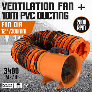 12 Extractor Fan Blower Portable 10m Duct Air Mover Low Noise High Velocity