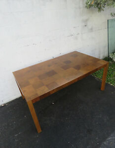 Mid Century Modern Inlay Parquet Dining Room Table 8977