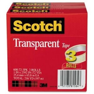 Transparent Tape 600 72 3pk 1 X 2592 3 Core Transparent 3 pack