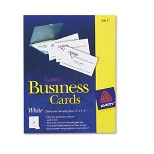 Two side Printable Business Cards Laser 2 X 3 1 2 White Uncoated 2500 box