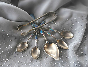 Marius Hammer Silver 925 Set 4 Coffee Spoons And Sugar Tongs Plus A Large Spoon
