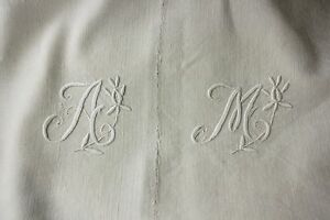 Antique Linen Sheet French C1910 84x91in Hand Drawnwork Am Monogram In White