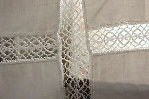 Coverlet White Lace Blanket Antique French Linen Bedcover 66x90 Inches Handmade