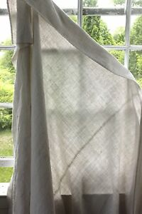 Antique Linen Sheet French Old 76x98 Washed Metis Cotton Fabric Striated Tone