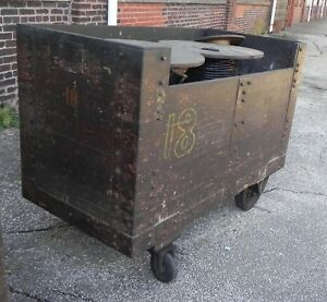 Industrial Equipment Cart Wood Movable W casters Warehouse Utility Cart