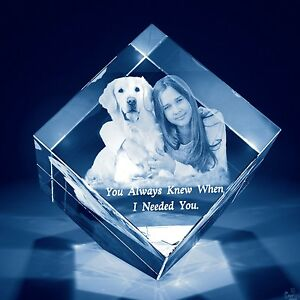 Christmas Laser Engraved Personalized 3d Dog Crystal Gift Med Diamond Base