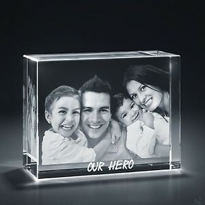 Christmas Laser Engraved 3d Crystal Personalized Gift X large Brick Shape Base