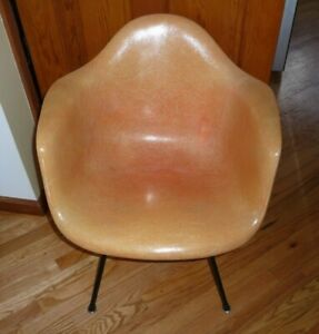 Vintage Early Eames Herman Miller Orange Shell Chair X Base
