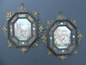 Antique Capodimonte Italian Porcelain Relief 2 Plaques Early 19th Century