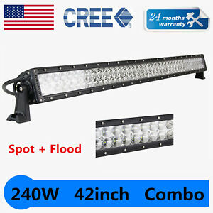 42inch 240w Led Work Light Bar Atv Offroad Driving Combo Truck Tractor Boat 40