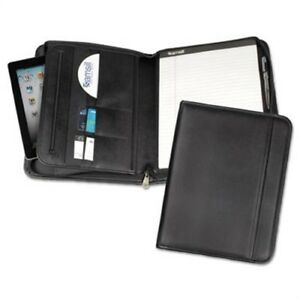 Professional Zippered Pad Holder Pockets slots Writing Pad Black