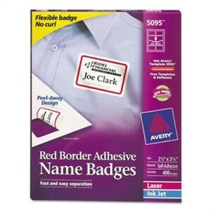 Flexible Self adhesive Laser inkjet Name Badge Labels 2 1 3 X 3 3 8 Rd 400 bx