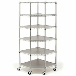 Heavy Duty Stainless Steel Corner Shelving Storage 6 Shelves Rack 600lb Capacity