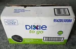 Dixie Doomed Hot Paper Coffee Cup Plastic Lids 12 Or 16 Oz Black 500 Ct D9524b