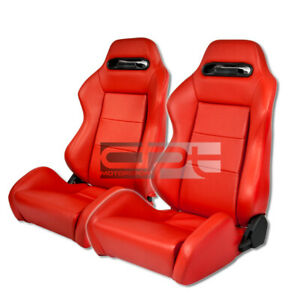 X2 Black 100 Real Red Leather Bucket Full Reclinable Racing Seats Sliders Bolts