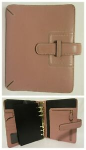 Franklin Covey Full Grain Leather Compact Personal Planner Mauve Blush Pink Ring