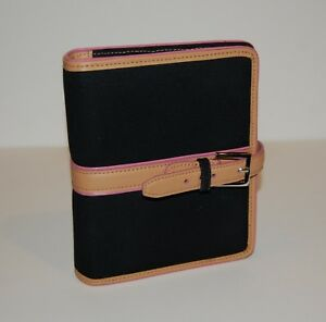 Compact Franklin Covey Planner Black Pink Canvas Leather Trim Binder 1 75 Rings