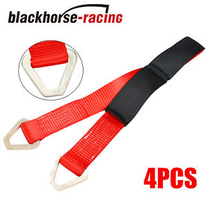 4pcs 36 Hd Axle Straps Race Car Hauler Tow Truck Wrecker Wheel Tie Down Strap