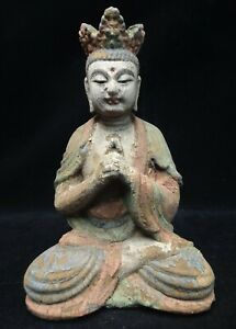 Very Old Chinese Hand Carving Wooden Buddha Statue Sculpture