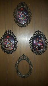 4 Vintage Large Floral Picture Ornate Oval Metal Frame Convex Glass Italy