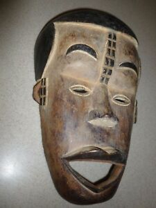 Tribal Full Face Wood Carved Old Large African Baha Lake Camerun Mask