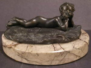 1900 Auguste Moreau Bronze Baby Girl Marble Sculpture Statue Figure Paperweight