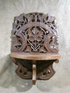 Vintage Exotic Carver Wood Folding Wall Shelf